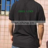 black cotton polo shirt with logo printing on the back