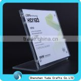 slant L shape acrylic table sign holder with magnetic high clear plexiglass table menu holder
