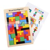 Colourful Wooden Colorful Tangram Puzzle Tetris brick pass game Russia square blocks