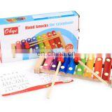 8 Tones Colorful Hand Knock Piano Enlightenment Musical Toy with Wood Mallets