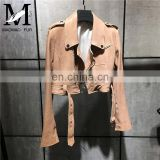 Women Spring Fashion Zipper Motorcycle Jacket Real Jackets Leather