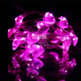 pink red heart valentine's day decoration battery operated silver wire romantic made in china decoration lights string