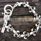 Charm Fleur De Lis Link Men Stainless Steel Metal Bracelet From Yiwu