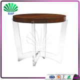 Classic Coffee <b>Table</b> Acrylic Antique End Desk Lucite <b>Wood</b> <b>Top</b> Console <b>Table</b>
