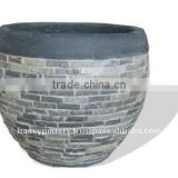 Light cement with stone planter