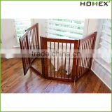 Wood foldable dog fence wood pet gate Homex_BSCI Factory