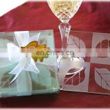 Fall in Love Leaf Design Glass Coaster Set