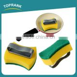 Toprank Customized Colorful Kitchen Cleaning Dish Pot Sponge Scourer Durable Plastic Handle Magic Green Sponge Scouring Pad