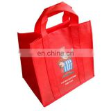 promotional pp non-woven shopping bag red non-woven tote shopping bag