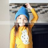 fashion plain design candy sweet kids winter hats and caps with top ball