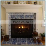 Indoor Mediterranean Style Hand Carved Marble Fireplace Mantel for Sale