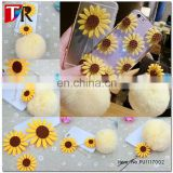 Cute Artficial Sunflower DIY Mobile Phone Jewelry Rabbit Fur Ball Cell Phone Charm Strap