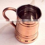 LONG MOSCOW MULE SOLID COPPER MUG WITH COPPER HANDLE NICKLE LINED