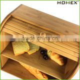Bamboo storage box for food/ bread box Homex-BSCI