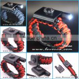Wholesale 2017 Promotioanl Handmade Paracord with LED Light Survival LED Paracord Bracelet