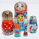 Kolobok Fairy Tales Wooden Nesting Dolls Wood Toys Cheap Russian Nesting Dolls Where To Buy Matryoshka Dolls Set 5 pc