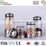 stainless steel covered glass coffee tea sugar canister