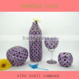 Elegant Beautiful Purple Home Decoration Handmade Mosaic Florist Glass Vase