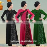 women fashion lace hemp muslim dress/xge muslim sd d flower abaya kaftandress/ islamic muslim women dress