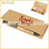 kraft paper cover sticky notes book with pen combined memo pad sticky notepad