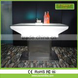 Modern design Square Set high bar cocktail white PE plastic led light bar table