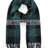 wholesale OEM cheap price winter knit plaid fringe scarf