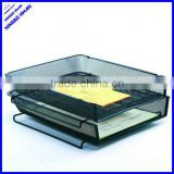 Quality 2 tier office metal mesh desktop stacking desk paper tray