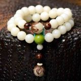 Natural Bodhi bracelets, White jade Buddha lovers Bracelet beads lotus root and folk style retro
