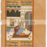 Indian Painting Decor Mughal Harem Scene Paper Miniature Painting Water Color Art
