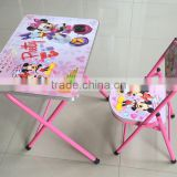 metal Children Funiture sets Kids study tables and chairs foldable Kids reading table with chair