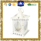 White <b>hanging</b> mini small metal candle <b>lantern</b> for ourdoor and <b>indoor</b> decor