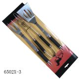 3 pcs wooden handle BBQ tools barbecue set