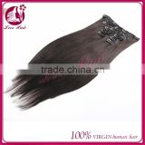 2015 hot sale 100% Wholesale unprocessed cheap virgin brazilian clip in hair extensions