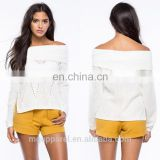 china OEM women clothes sexy white off the shoulder split sides cozy knit sweater