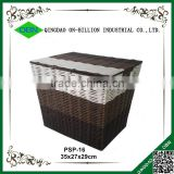 Woven plastic storage bins with lid