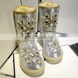 Aidocrystal Factory Price Wholesale Women Handmade snow Boots With Rhinestone