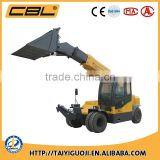 Three section telescopic boom telehandler with bucket