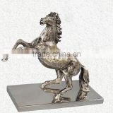 NICKLE PLATED FLYING HORSE STATUE ON METAL BASE FOR HOME DECORATION