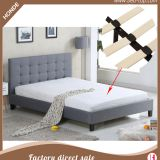 Luxury modern italian gray fabric plywood double bed designs furniture