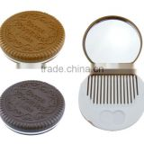 Promotional Costume Plastic Biscuit Pocket Mirror with Brush Comb