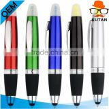 Double tips marker, ball pen&highlighter&touch tip,3 in 1 pen