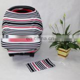 3 in 1 High quality organic cotton rainbow stripe Baby car seat cover/canopy