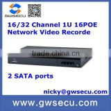 1U 16PoE cctv 2 sata <b>Network</b> Video <b>Recorder</b> ip <b>camera</b>