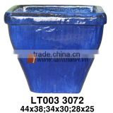 Vietnam Tall Blue Outdoor Glazed Flower Vase For Wholesalers