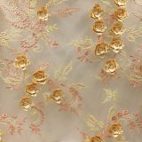 3D Floral Blossom Bridal Embroidered Tulle Lace Fabric for dress