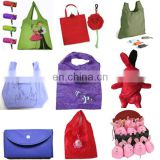 eco-friendly cheap shopping bag foldable put into self pouch bag
