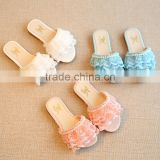 B10722A Children girl summer slippers lace flat slippers shoes