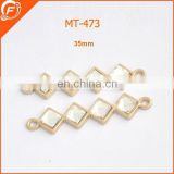holesale four square shape gold metal trimmings bar sew on diamond