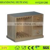 FSC custom natural unfinished wood dvd cd storage cabinet with drawer