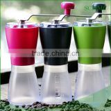 Plastic housing portable coffee mill/grinder, Manual Ceramic Burr Coffee Grinder, Hand-crank Coffee Mill